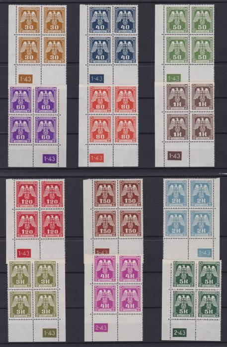 Bohemia and Moravia 1943 - Service block of four with plate number