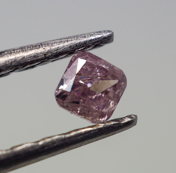 0.07 ct - Natural Fancy Diamond - Purplish Pink - I1 *NO RESERVE*