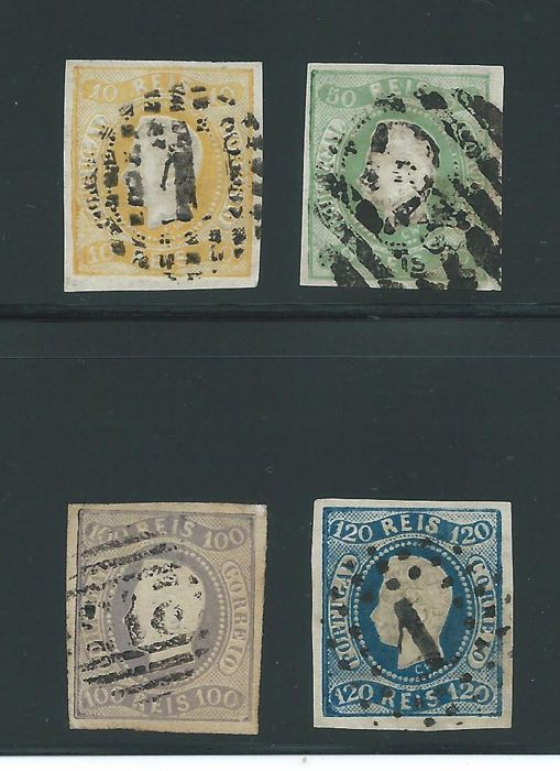 Portugal 1866 - Luis I. Wavy border. Imperforated - Michel 18, 21, 23, 24