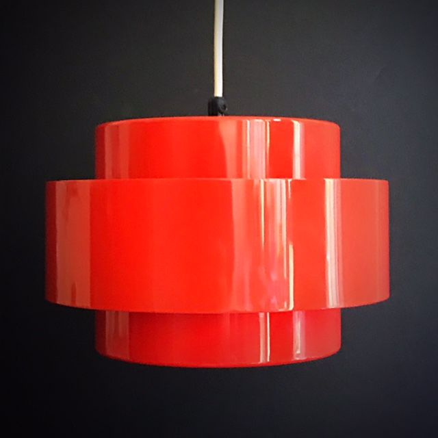 "Jo Hammerborg for Fog & Mørup - red metal ""Juno"" hanging lamp from the ""Rainbow Line"""