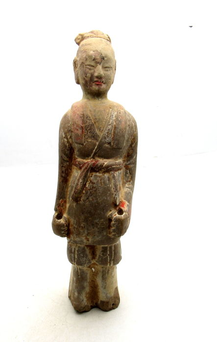 Ancient Chinese Tang Dynasty Attendant Terracotta Statue - 265 x 75mm