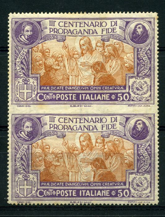Italy, Kingdom 1923 - Cent. 50 Propagada Fide  vertical pair without perforation between the stamps - Sass.  No  133h