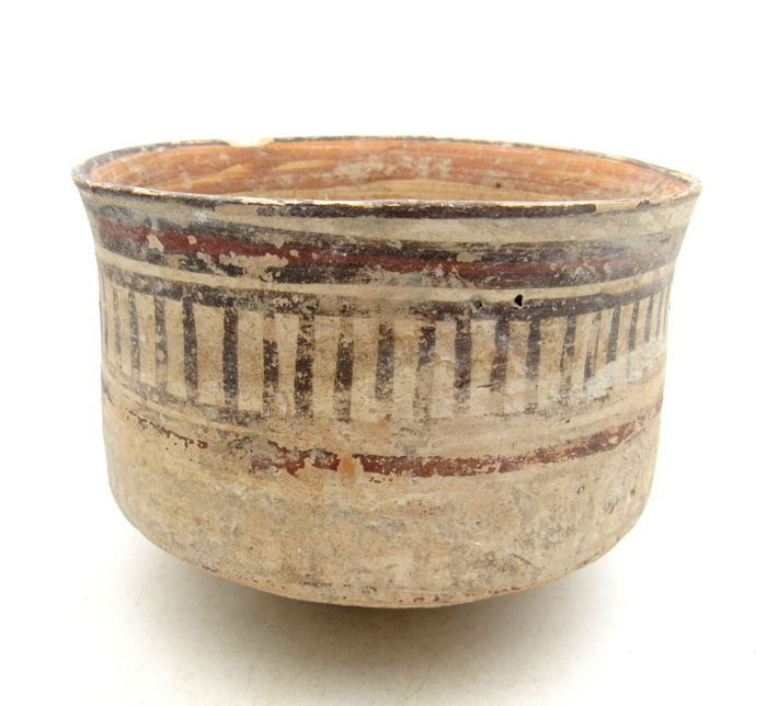 Ancient Indus Valley Painted Terracotta Bowl with Geometric Motif - 117 x 84 mm