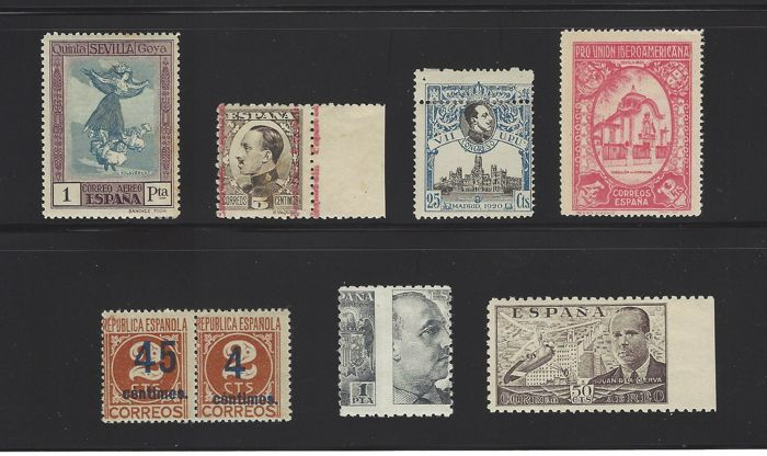 Spain 1920/1940 - Set with varieties from the 1st centenary