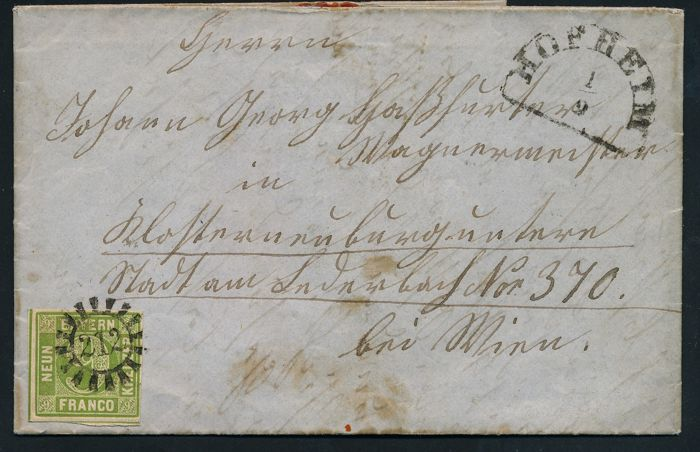 Bavaria - 1862 - value numeral in closed circle, 9 Kreuzer yellow-green, Michel 5 on letter