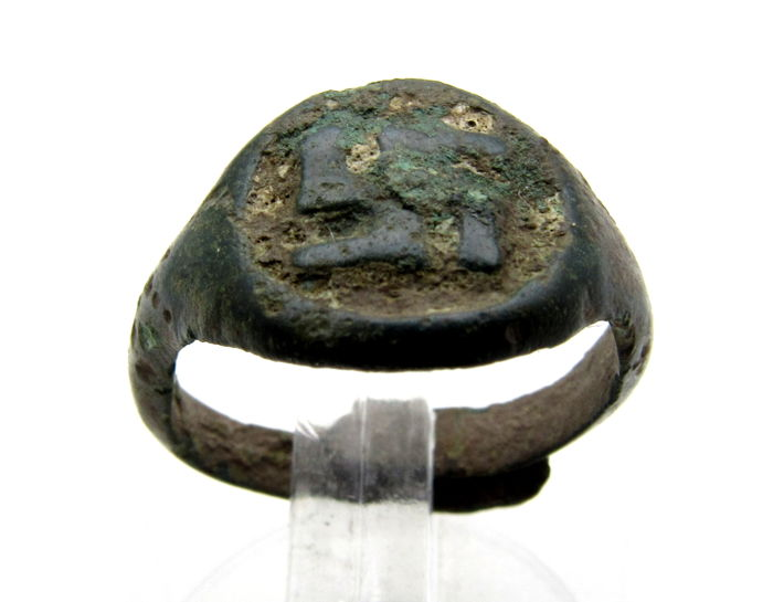 Early Medieval Viking Era Bronze Ring with Swastika on Bezel - 14mm
