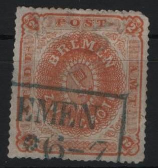 Bremen - 1866 - state coat of arms, 2 Gr. yellow-orange, Michel 10a