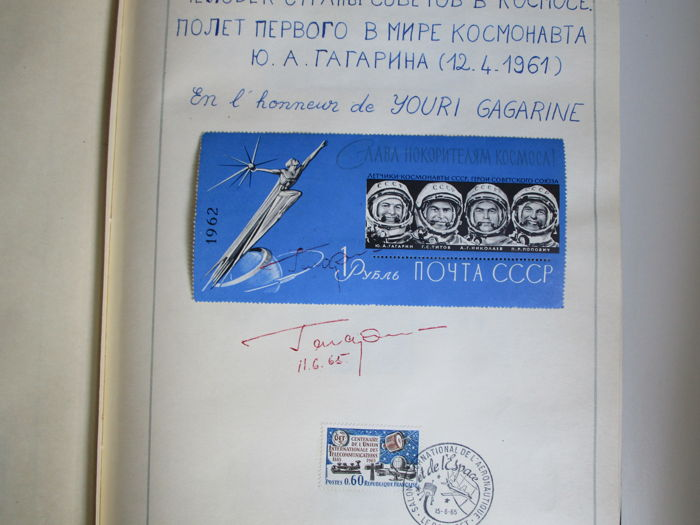 Soviet Union 1958/1961 - Collection of stamps in an album, signed by Y. Gagarin