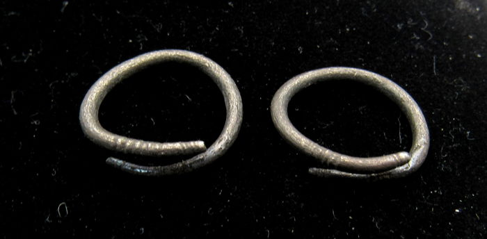 Pair of Medieval Viking Period Silver Coiled Snake Earrings - 13-14mm (2)