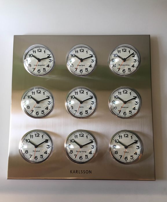 Karlsson - World clock Polished Steel, 9 Cities