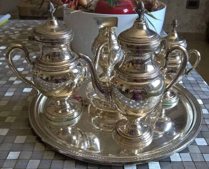 Tea/Coffee Set in solid silver 800 and in Empire style - by Italian silversmith Siddiolo, Palermo - Italy, 20th century