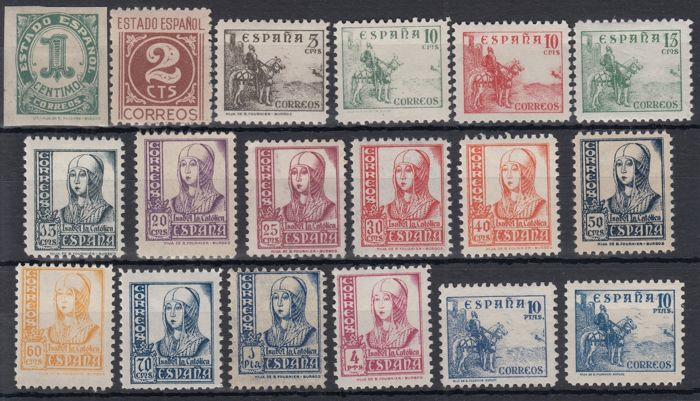 Spain 1937/1940 - Figures, Cid and Isabel - Edifil 814/831