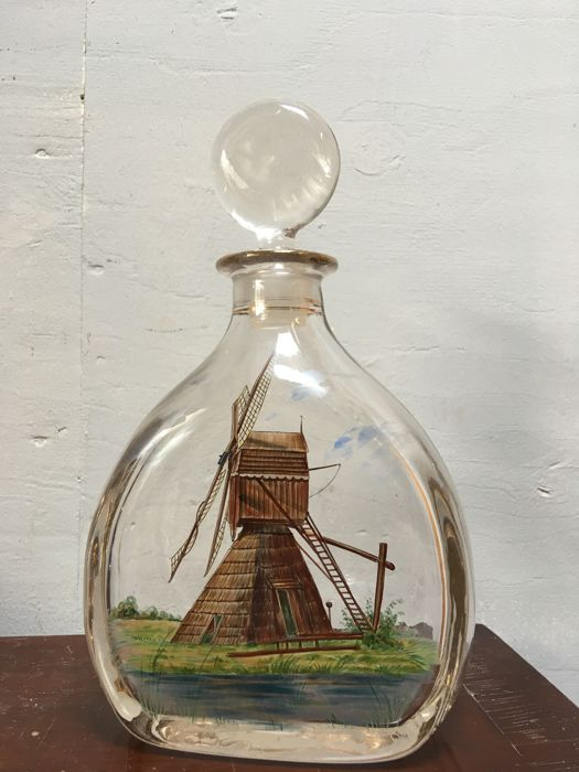Heavy old decanter hand painted with a Dutch windmill