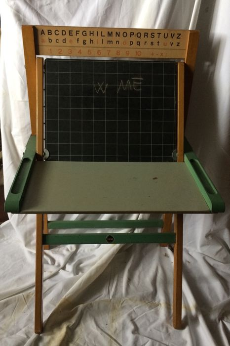 self standing and folding toy board with desk and abacus 1960s