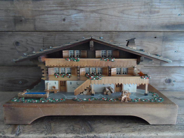 Vintage extra large handmade wooden Swiss chalet with a music box 1950s