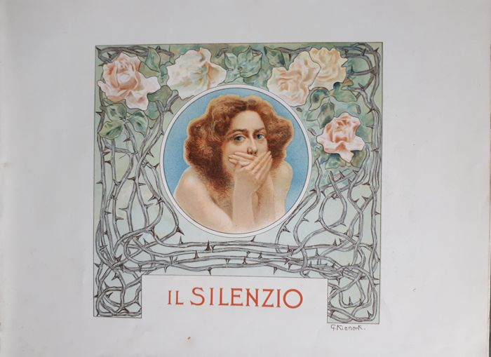 Art Nouveau: Lithographic print on an original stone 1901, by Giorgio Kienerk (Florence, 5 May 1869 – Fauglia, 15 February 1948)