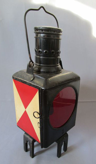 Railway lamp / tail lamp - Germany - enamel - operated on petroleum - Germany 1940s/50s