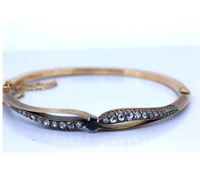 Gold bracelet with sapphire and Dutch rose-cut diamonds