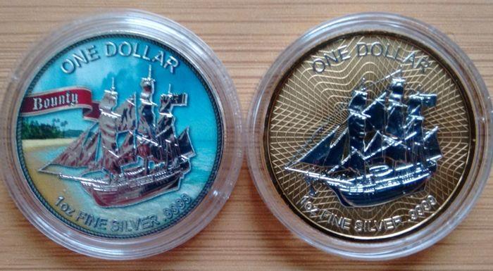 Cook Islands - 1 Dollar 2017   - Bounty Color - 2 x 1 Oz  - Silver