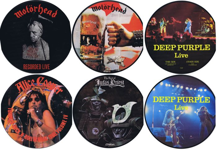 Picture Discs LPs: lot of 5 heavy, hard rock discs | Motörhead (x2), Judas Priest, Deep Purple, Alice Cooper