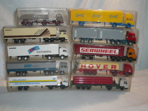 Wiking H0 - 517/523/542/786/787/523/u.a. - Attachments, Scenery - 10 Modelle - LKW Konvolut u.a.