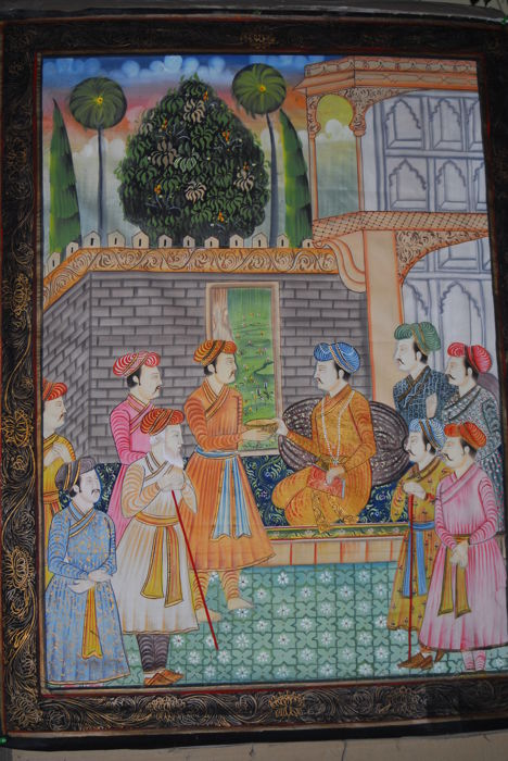 Large Mughal hand-painted painting on silk - India - ca. 1980 (108 cm)