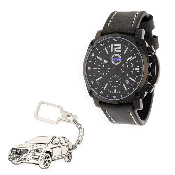 Lot of S&S men's watch for Volvo + Sterling silver key ring with a reproduction of the XC60 model