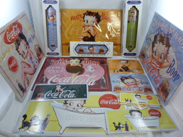 Coca Cola wall signs with Betty Boop