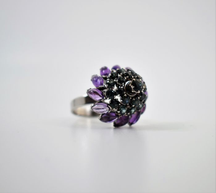 Vintage Thai Princess 10k Gold Cocktail Ring set with Sapphires and Amethysts