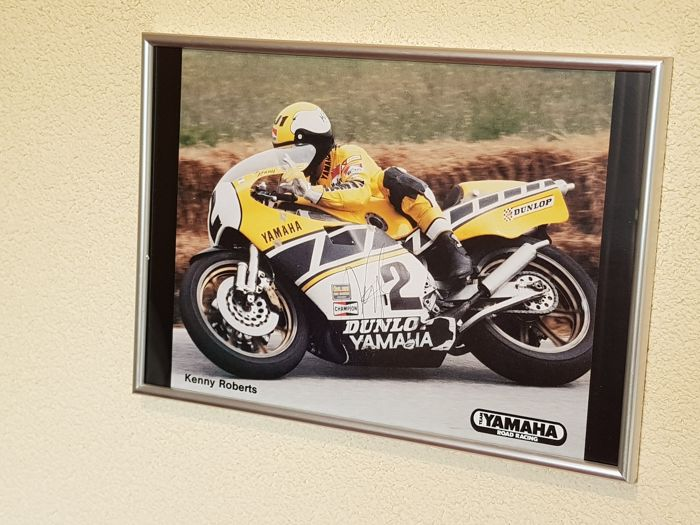 Kenny Roberts Sr. - 5x World Champion motor racing 500 CC - hand signed framed photo + COA + proof