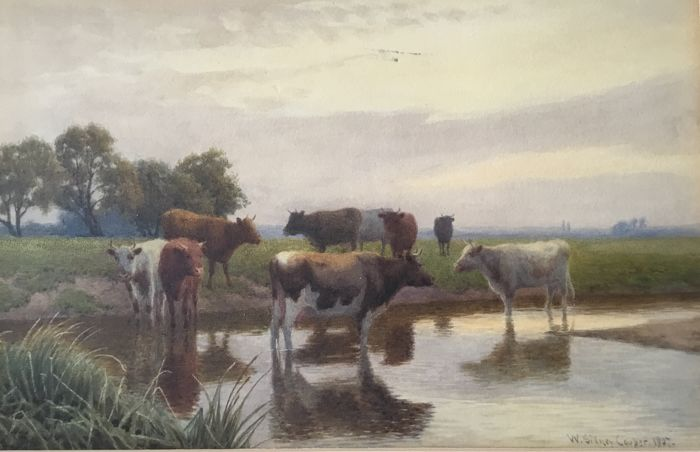 William Sidney Cooper (1854-1927) - Cattle resting in Kent England