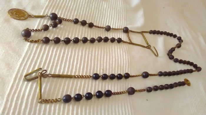 Huge original 19th century old belt rosary