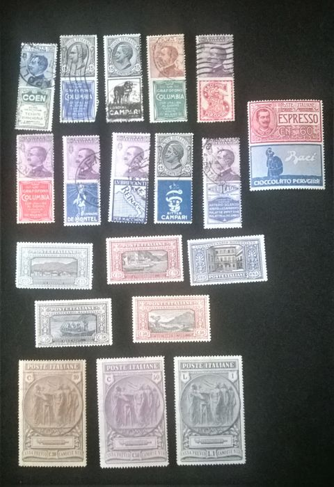 Italy Kingdom 1923 - Selection of stamps of the period - Sassone N. S.27 e S.28- e N 1/3; 5; 9; 11/12; 4/16; 21