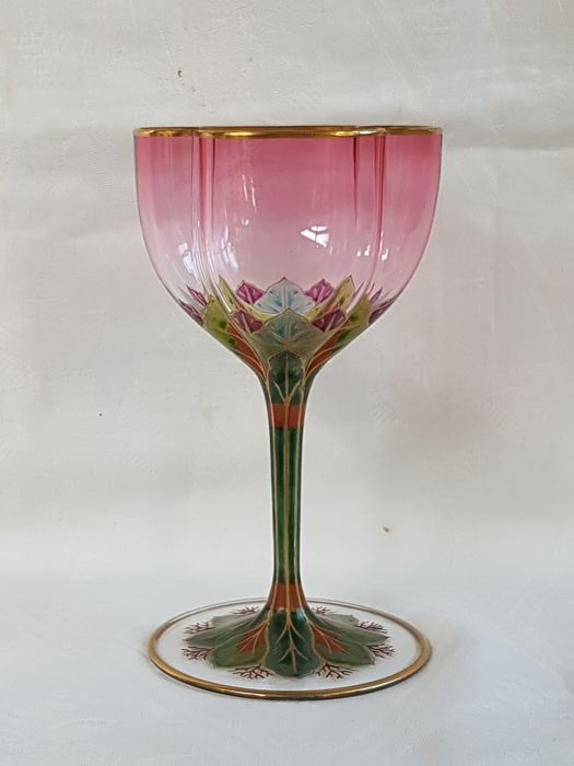 Lobmeyr - Art nouveau wine glass with polychrome enamel decoration