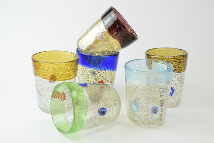 Zecchin - Set of 6 liqueur glasses with Murrine and silver leaf