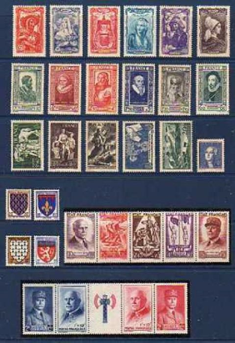 France 1943/1949 - Full years - Yvert N°568 au N°862 avec bande n°580A