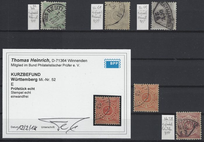 Württemberg 1875/1890 - White numbers in a circle - Michel 44 - 58