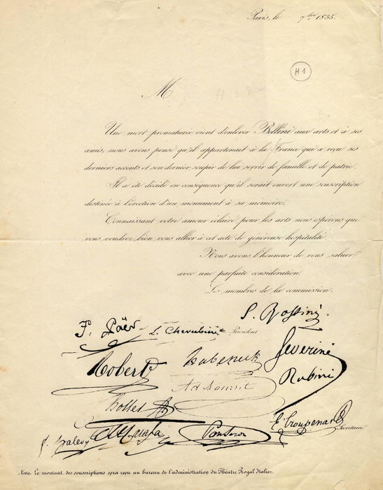 Commissione Rossini (Paër / Cherubini / Rubini) - Document about fundraiser to build up a funeral monument for Vincenzo Bellini - 1835