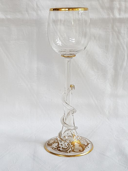 Theresienthal or Meyr's Neffe - Art Nouveau wine glass painted with gold-coloured enamel