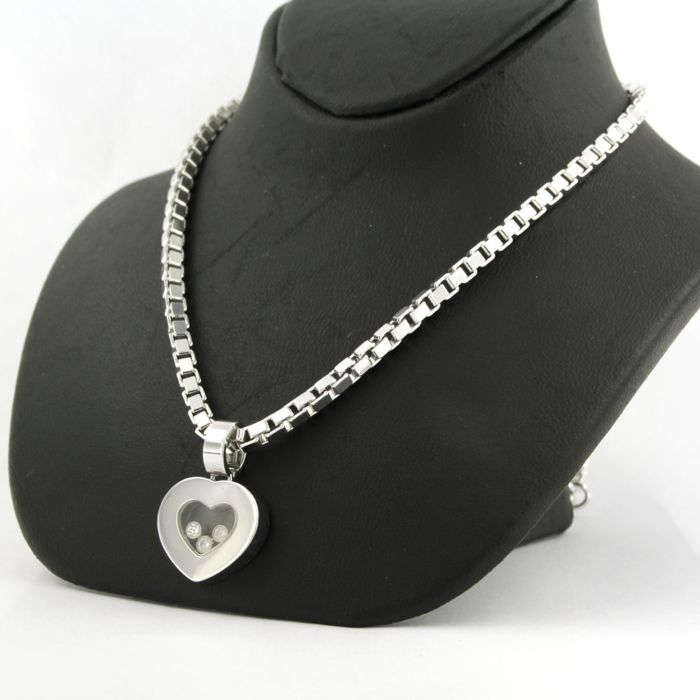 Chopard - 18 kt white gold necklace with 18 kt white gold pendant