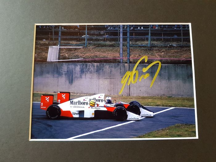 Alain Prost and Ayrton Senna - Eternal Rivals Formula 1 - Framed photo hand signed by Prost + COA.