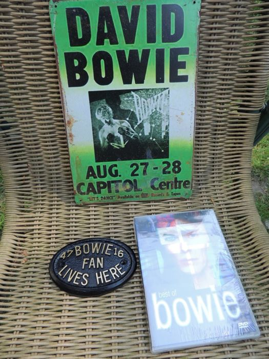 Stunning Metal Concert Memorial Sign - David Bowie Performing As Ziggy Stardust  - Bonus Double DVD - Best Of David Bowie And A David Bowie Sign Door Plague