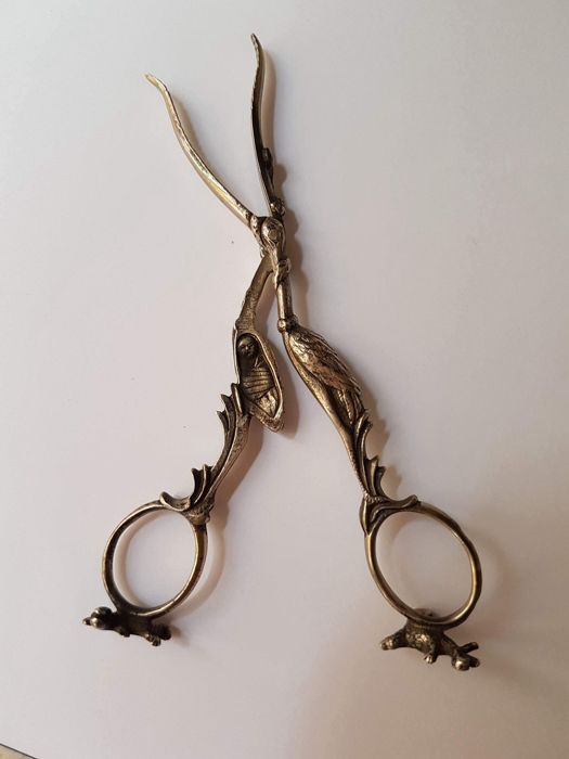 Umbilical stork scissors in 800 silver, 19th century