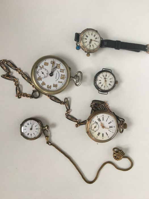Set of 5 old watches