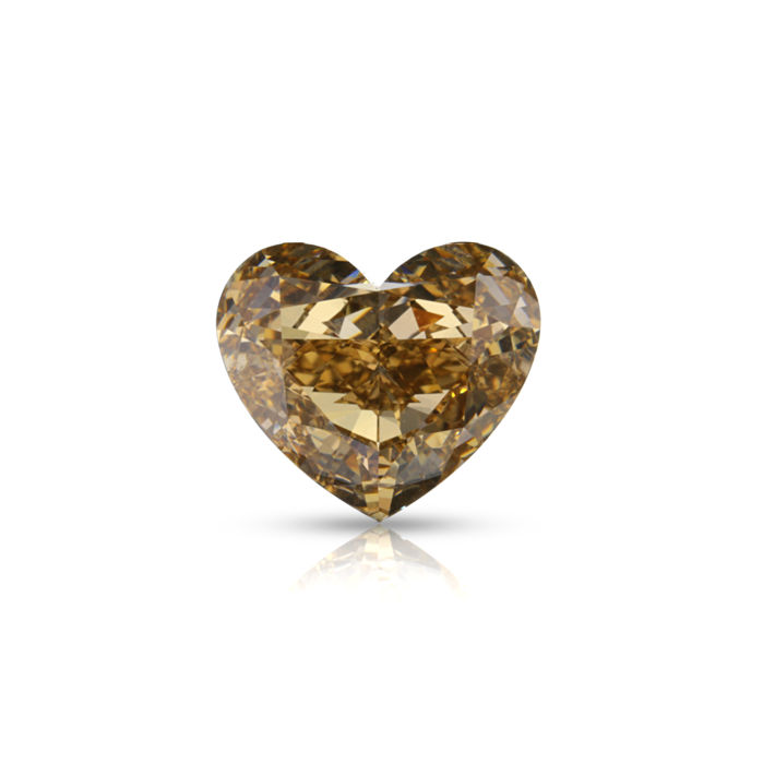 "2.02 Ct. Natural Fancy Light yellowish brown Color Heart Brilliant Diamond. EX/EX/EX ""De Beers Certified"""
