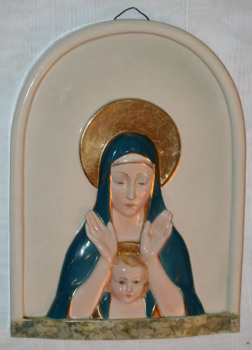 Large wall plaque Mary and child E.P.F. - Italy - mid-20th century