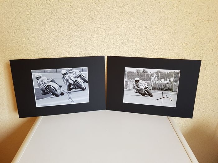 Franco Uncini +  Marco Lucchinelli - Both World Champion motor racing 500 CC 1982 and 1981 - 2 hand signed photo's in passepartout + COA