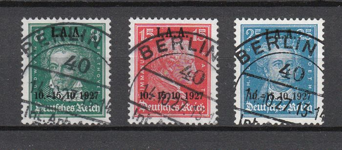 German Empire 1927 - IAA employment office cpl. with centric full stamp - Michel 407-409