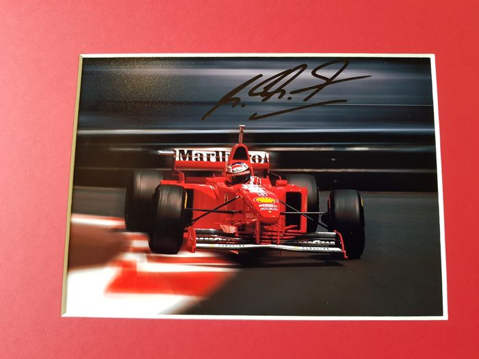Michael Schumacher - Rare Monaco  photo in Ferrari - Fantastic framed hand signed + COA.