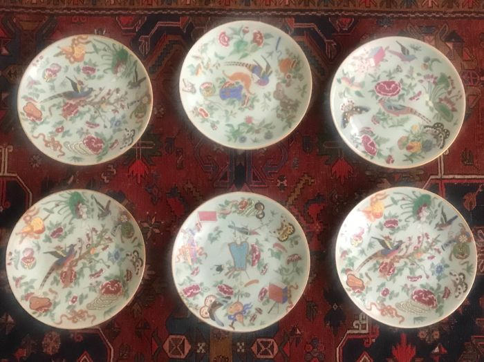 a set of six large Canton céladon plates - China - 19th c